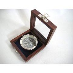 Tischkompass, Kompass, Navigation in Holzbox mit Glasdeckel