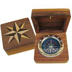 Kompass Windrose Kompass aus Messing und Kupfer in Holzbox