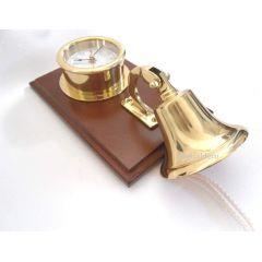 Uhr in Bullaugenform- Messing eingefaßt in Holz