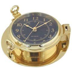 Uhr in Bullaugenform- Messing, Durchmesser 22,5 cm- Zifferblatt schwarz