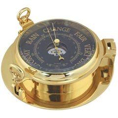 Barometer in Bullaugenform- Messing, Durchmesser 22,5 cm- Zifferblatt schwarz