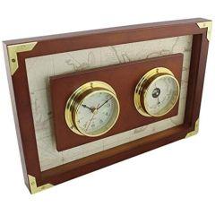 Uhr + Barometer in Bullaugenform- Messing eingefaßt in Holz