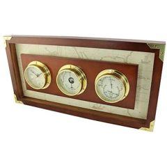 Uhr/Baro/Hygrometer in Bullaugenform- Messing eingefaßt in Holz