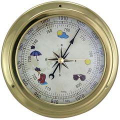 Barometer in Bullaugenform- Zifferblatt Wettermotive- Messing- Durchmesser 14,5 cm