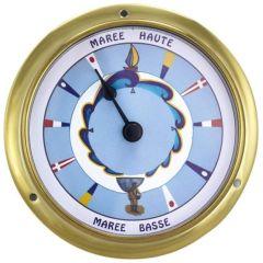 Kleine, leichte Gezeitenuhr- in Bullaugenform- Flaggenzifferblatt- Messing- Durchmesser 11,5 cm