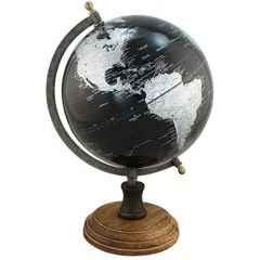 Edler Globus auf Holzstand H 32 cm- Eisengestell, antik- Farbe schwarz