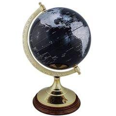 Edler Globus auf Holzstand H 34 cm- Messinggestell- Farbe schwarz