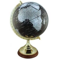 Edler Globus auf Holzstand H 47 cm- Messinggestell- Farbe schwarz