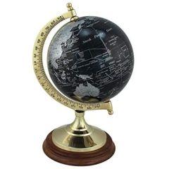 Edler Globus auf Holzstand H 22 cm- Messinggestell- Farbe schwarz