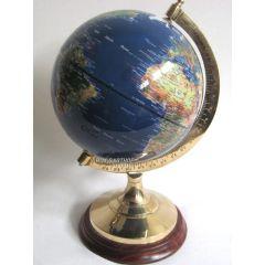 Edler Globus auf Holzstand H 35 cm- Messinggestell- blau