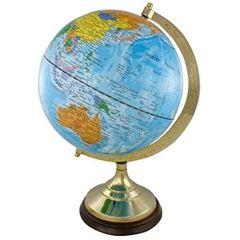 Edler Globus auf Holzstand H 35 cm- Messinggestell- hellblau