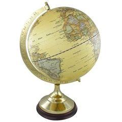 Edler Globus auf Holzstand H 22 cm- Messinggestell- beige