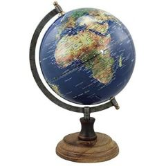 Edler Globus auf Holzstand H 32 cm- Eisengestell, antik- Farbe blau