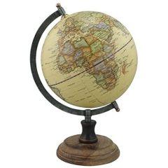 Edler Globus auf Holzstand H 32 cm- Eisengestell, antik- Farbe beige