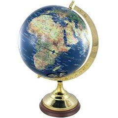 Edler Globus auf Holzstand H 47 cm- Messinggestell- Farbe dunkelblau
