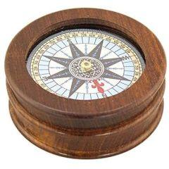 Kompass mit Windrose in Holz unter Glas