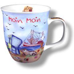 Große Tasse, Kaffeepott, Becher- Moin Moin maritim- deutsches Produktdesign