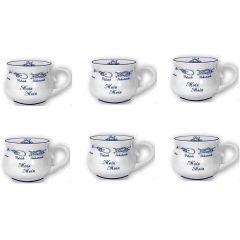 6X Porzellan- Mini- Tasse, Kugelbecher - Moin, Moin- Innendruck Ebbe und Flut - Knotenranke