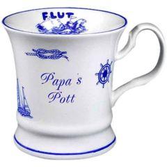 Maritim Porzellan- Tasse, Kaffeepott, Becher- Papa s Pott+ Innendruck Ebbe/Flut