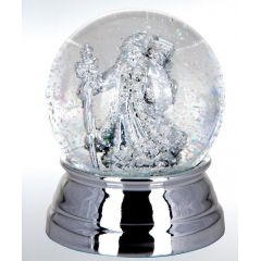 Edle Schneekugel mit Weihnachtsmann- versilbert und anlaufgeschützt - 10 cm- massiv 460g