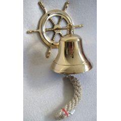 **Schiffsglocke aus Messing mit Halterung, Bändsel - Glocke 7,5 cm, Gewicht 400 g
