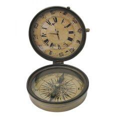**Kompass mit Uhr im Antikdesign