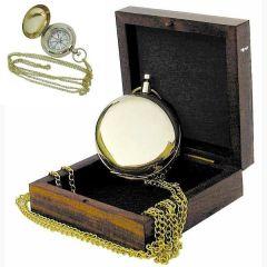 **Taschenkompass mit Kette und Holzbox- Messing im Taschenuhrformat