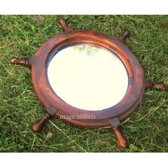 **Steuerrad aus Holz mit Spiegel- 45 cm