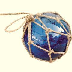 Deko- maritim- Fischerkugel im Netz 7,5 cm- blau