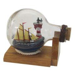 Flaschenschiff- Buddelschiff- Schiff in Flasche mit Leuchtturm - L 10,5 cm