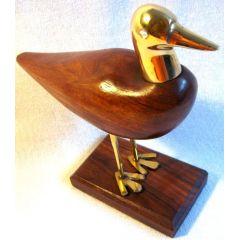 **Edle Möwe aus Holz und Messing- 18 cm