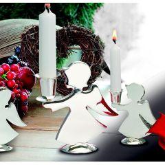 Kerzenhalter Engel Mädchen 12,5 cm -versilbert/anlaufgeschützt- Deutsche Manufactur
