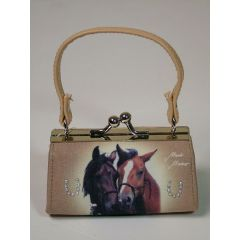 Schminktäschche Clipgeldbörse Minibag Pferdeliebe beige