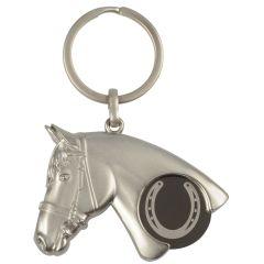 Schlüsselanhänger Pferdekopf mit Einkaufswagen-Chip Hufeisen