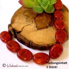 Schaumkoralle (gef.), oval ca. 18 x 13 mm, 5 Stück