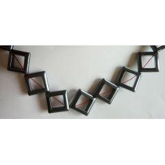 Hämatin Quadrat offen 18 x 18 mm, Strang 40 cm