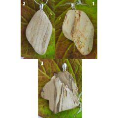 versteinertes Holz Rohstück geglättet, Anhänger mit Silberöse