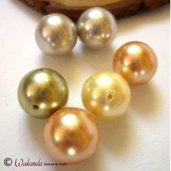 Perle (Muschelkern) 14 mm, gebohrt, 1 Stück