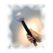 Mikrophon silber, ca. 26 cm, Attrappe, glänzend
