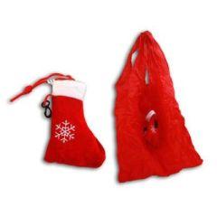 Einkaufstasche zusammenfaltbar als Weihnachtsstiefel ca. 13 cm - Einkaufsbeutel