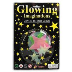 Leuchtsterne fürs Kinderzimmer - Mond und Sterne nachleuchtend - 10 Stück - farbig
