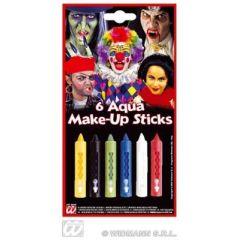 Aqua Make-up - Schminkset - 6 Farben - praktische Stiftform