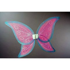 Transparente Schmetterlingsflügel - bunt - beglittert - rosa/blau - ca. 71 x 48 cm