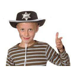 Cowboy Hut mit Sheriffstern - für Kinder  - schwarz