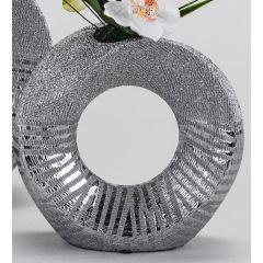 formano edle Blumenvase mit Silberstreifen und Loch, 23 cm