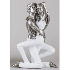 formano Skulptur kniendes Paar, weiß silber, 34 cm