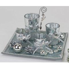 formano Teelichthalterset für den Advent Silberstern 25 x 25 cm