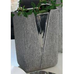 GILDE Moderne V-Vase aus Keramik, silber, 30 x 15 x 11 cm
