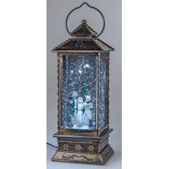 Metalllaterne Acryl, Wassereffekt und LED Licht, Schneemann, 27 cm