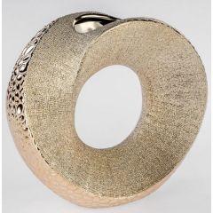Moderne Vase mit Loch in Champagner aus Keramik, 23 cm